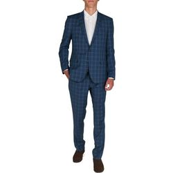 Billy London Blue Plaid Slim Fit Finished Bottom