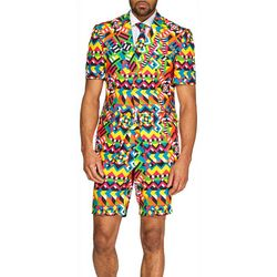 Mens Summer Abstractive Retro Suit