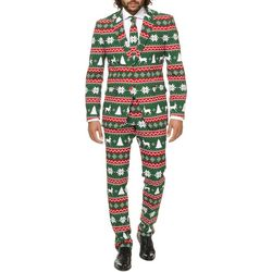 Opposuits Mens Festive Green 3-pc. Suit