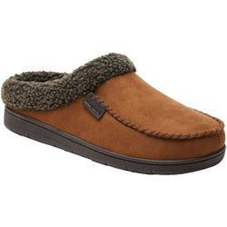 Dearfoams Mens Microsuede Whipstitch Clog Slippers