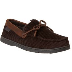 Dearfoams Mens Corduroy Moccasin Slippers