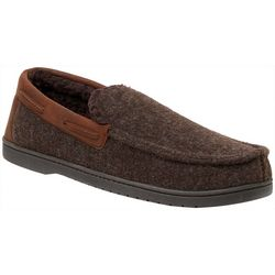 Dearfoams Mens Felted Microwool Moccasin Slippers