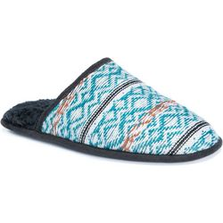 Muk Luks Mens Gavin Teal Geometric Slippers