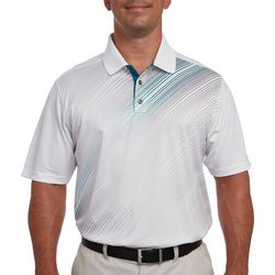 Pebble Beach Mens Diagonal Fade Stripe Print Polo Shirt