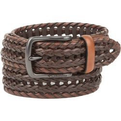 Columbia Mens Braided Two Tone Leather Belt