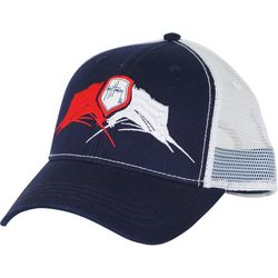 Guy Harvey Mens Face Off Marlin Trucker Hat