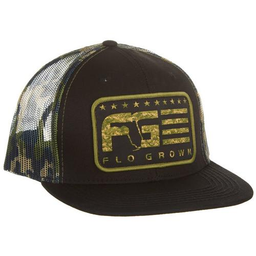 9d9860108cf FloGrown Mens Stripe Camo Trucker Hat