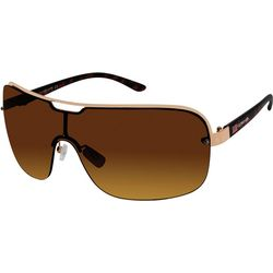 US Polo Assn. Mens Metal Semi-Rimless Shield Sunglasses