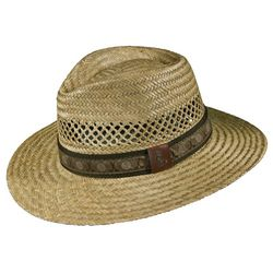 Scala Mens Rush Raffia Golf Band Safari Hat