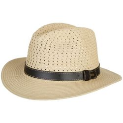 Scala Mens Faux Leather Band Safari Hat