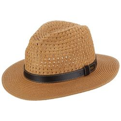 Scala Mens Faux Leather Band Vented Safari Hat