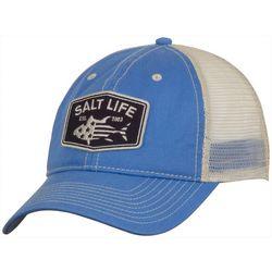 Salt Life Mens Red White & Blue Fin Mesh Trucker Hat