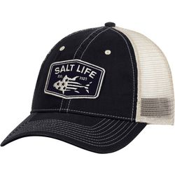 Salt Life Mens Red White & Blue Fin Mesh Trucker Hat