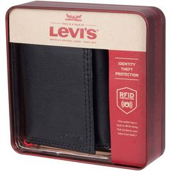 Levi's Mens RFID-Blocking Trifold Wallet With Zipper Closure