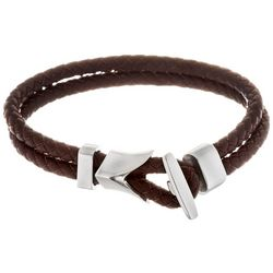 Vantage Mens Anchor Braided Leather Bracelet