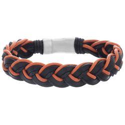 Vantage Mens Braided Cord Leather Bracelet