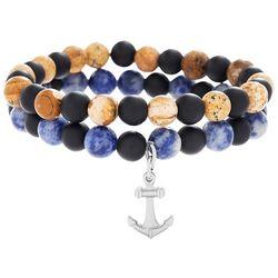 Vantage Mens Anchor Beaded Bracelet