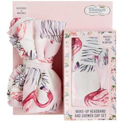 Flamingo Shower Cap & Headband Set