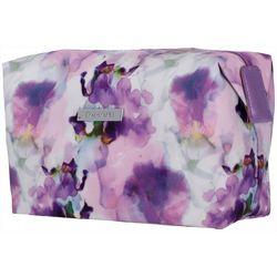 Tahari Watercolor Iris Soft Zippered Cosmetic Bag