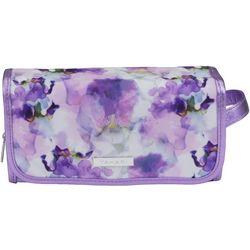 Tahari Purple Floral Hanging Organizer Cosmetic Bag