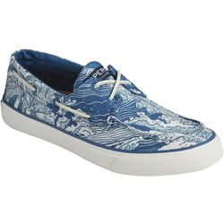 Sperry Mens Bahama II Coral Print Boat Shoes