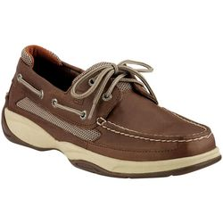 Mens Lanyard Dark Tan 2-Eyelet Boat Shoes