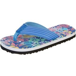 Little Girls Shore Tropical Print Flip Flops