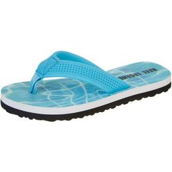 Little Boys Water Print Wade Flip Flops