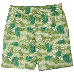 Bleached Big Boys Palm Leaf Print Shorts