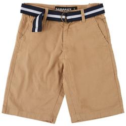 Big Boys Solid Flat Front Belted Chino Shorts