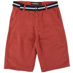 Tony Hawk Big Boys Solid Flat Front Belted Chino Shorts