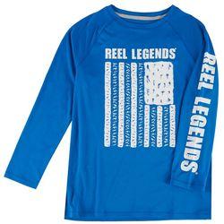 Reel Legends Big Boys Fish Patriotic Flag Raglan T-Shirt