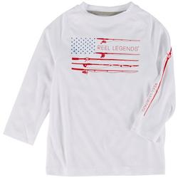 Little Boys Fish Patriotic Flag Print T-Shirt