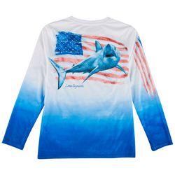 Reel Legends Big Boys Lea Szymanski Shark Flag T-Shirt
