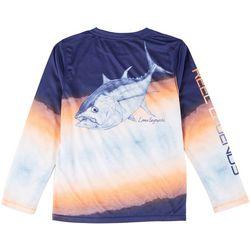 Reel Legends Big Boys Long  Sleeve Tom The Tuna T-Shirt