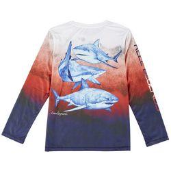 Reel Legends Big Boys Long Sleeve Shark T-shirt
