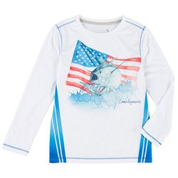 Little Boys Long Sleeve Yellowfin God Bless Tee