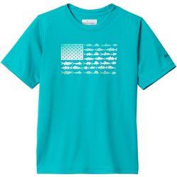 Columbia Big Boys PFG Americana Finatic Short Sleeve T-Shirt