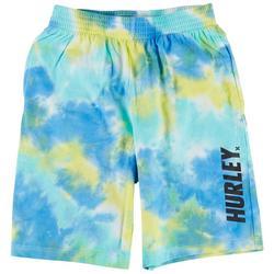Big Boys Tie Dye Logo Print Pull On Shorts