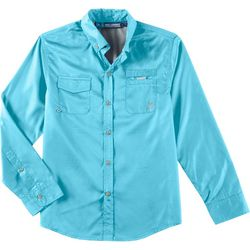 Little Boys Solid Button Down Fishing T-Shirt