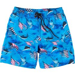 Reel Legends Little Boys Patriotic Marlin Swim Shorts