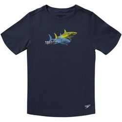 Speedo Big Boys Short Sleeve Shark Rashguard