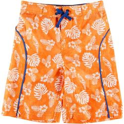 Little Boys Palm Leaf Swim Trunks