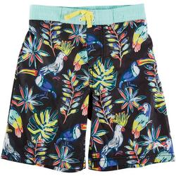 Little Boys Tropical Birds Swim Trunks