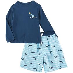 Little Boys 2-pc. Dolphin Rashguard Set