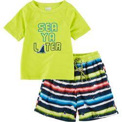 Floatimini Little Boys 2-pc. Sea Ya Later Rashguard Set