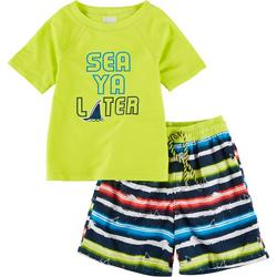 Little Boys 2-pc. Sea Ya Later Rashguard Set
