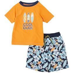 Little Boys 2-pc. Cool Dude Rashguard Set