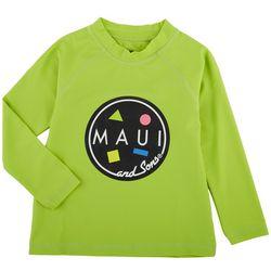 Maui & Sons Little Boys Logo Round Long Sleeve Rashguard
