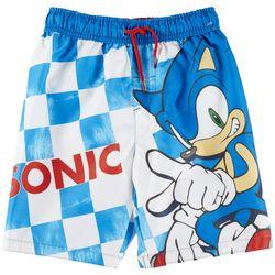 Sonic Little Boys Checkered Sonic Swim Trunks